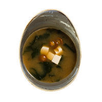 Traditional Japanese Miso soup with Nameko mushrooms and Tofu cheese